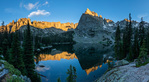 Panorama of Crater Lake and Lone Eagle Peak at sunset, Indian Peaks Wilderness, Colorado