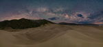 Milky Way panorama from the northernmost high dune, Great Sand Dunes National Park, Colorado