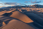 The Sangre de Cristo Range at sunset from the summit of Star Dune, Great Sand Dunes National Park, Colorado