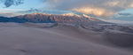 California Peak and the dune field from the northernmost high dune at sunset, Great Sand Dunes National Park, Colorado