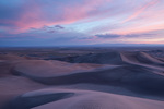 The dune field at sunset from the northernmost high dune, Great Sand Dunes National Park, Colorado