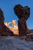 Angel Arch and stone mushroom, Needles District, Canyonlands National Park, Utah