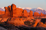The La Sal Mountains and Windows area from the Garden of Eden Overlook at sunset, Arches National Park, Utah