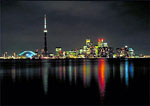 Toronto skyline at night from Toronto Island, Canada