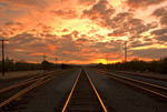 Sunset on railroad in Mohave Desert, Kelso, California