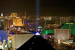 View of Las Vegas Luxor Hotel and the city lights from Mix Restaurant at the Hotel