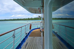 Teak deck on board a cruise ship in the South Pacific