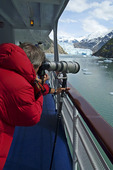 Photographer takes photos of the ice flow from Tracy Arm Alaska