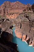 The calcium carbonate rich waters of Havasu Creek, just above its confluence with the Colorado River in Grand Canyon National Park, Arizona