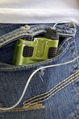 Teenage girl stores her insulin pump in her back pocket