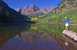 Fishing at the Maroon Bells in Colorado