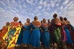 Tribal greeting dance by Samburu woman.  Kenya, Africa, tribal, indigenous, tribe,