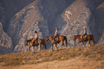 Horseback riders riding on a ridgeline fo the Bighorn Mountains.  Wyoming.