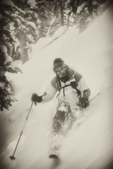 Mark Gocke telemark skiing on Two Ocean Mountain. Shsohone Naitonal Forest, Wyoming