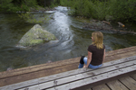 Laurence S. Rockefeller Preserve in Grand Teton National Park, Wyoming, tourists, lake creek,