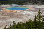 Tourists viewing Grand Prismatic Spring.  Upper Geyser Basin, Yellowstone Nationa Park, Wyoming.