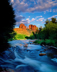 Cathedral Rocks and Oak Creek, Summer, Red Rock Crossing State Park, Sedona, Arizona