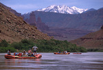 Rafting the Colorado River, west of Fisher Towers and the La Sal Mtns., Moab, Utah