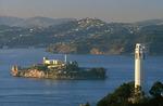 Coit Tower and Alcatraz Island, from the Mandarin Oriental Hotel, San Francisco, California