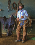 Merton Kewiwi, a Paniolo (Hawaiian Cowboy), at the Ulupalakua Ranch, Upcountry district, Maui, Hawaii