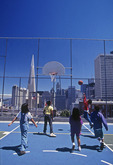 Rooftop basketball in Chinatown, San Francisco, California