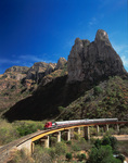 The Sierra Madre Express crosses the bridge at Temoris, en route to Copper Canyon, Mexico