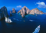 The 'Sunderland' sails by El Arco, The Arch, Cabo San Lucas, Mexico