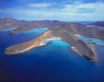Aerial of Isla Espiritu Santo, southern Sea of Cortez, Baja California, Mexico