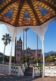 Gazebo and great cathedral in plaza of silver mining town of Alamos, Sonora, Mexico
