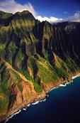 the Na Pali coast from helicopter, Kauai, Hawaii