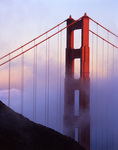 Golden Gate Bridge in fog, from Marin Headlands, San Francisco, California