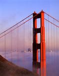 SF Skyline through Golden Gate Bridge, North Tower, from the Marin Headlands, San Francisco, California