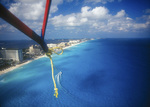 Parasailing over the Hotel Zone, Cancun, Quintana Roo, Mexico