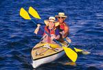 seniors kayaking in the Sea of Cortez, off Isla Espiritu Santo, Baja California, Mexico