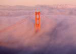 Golden Gate Bridge in summer fog, from the Marin Headlands, San Francisco, California