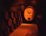 Wine aging cellar at Buena Vista Winery, Sonoma, California