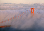 Golden Gate Bridge in summer fog, from Marin Headlands, San Francisco, California