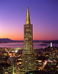 Twilight over the Transamerica Pyramid, North Beach, and Alcatraz, San Francisco, California