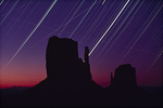 Star tracks over The Mittens, Monument Valley Tribal Park, Arizona