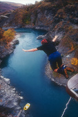 Bungy jumping off the Kawarau bungy bridge, east of Queenstown, South Island, New Zealand