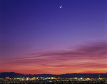 The Moon and Venus at twilight over The Strip, Las Vegas, Nevada