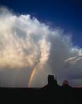 Thunderstorm and double rainbow over the Mittens, Monument Valley, Arizona