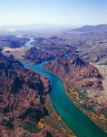 Aerial of Colorado River, looking south toward Lake Havasu, Arizona