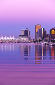 Canada Place and downtown skyline, at dusk from Stanley Park, Vancouver, British Columbia, Canada