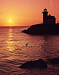 Lighthouse at sunset, Lime Kiln Point State Park, San Juan Island, Washington