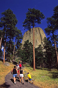 Family ascends trail to Devil's Tower, Devil's Tower National Monument, Wyoming