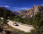 SUV on the Beartooth Highway, Beartooth Mountains, Wyoming