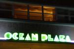 Ocean Plaza Hotel facade at twilight, Ocean Drive, South Beach, Miami, Florida
