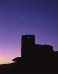 Wukoki Ruin with crescent moon and Venus, pre-dawn, Wupatki National Monument, Arizona