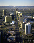 Aerial of downtown, looking south down Central Avenue, Phoenix, Arizona